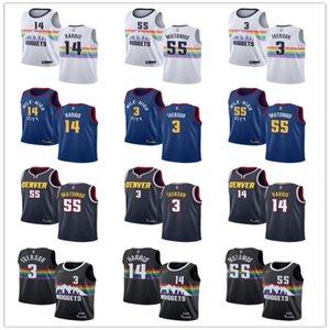 Men Women YouthDenver3 AllenIverson 55 DikembeMutombo 14 Gary Harris custom Basketball Jerseys White Blue black Navy