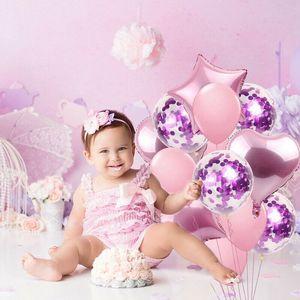 Favor da festa Forma 14PCS Confetti Latex Balões Set alumínio Estrela do coração Foil Birthday Party Wedding Balloon Decoração Criança
