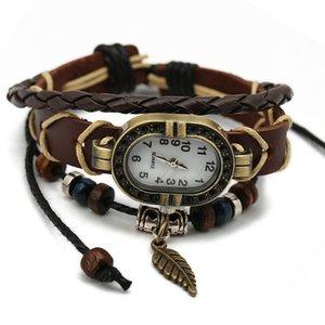 Factory outlets punk style leather bracelet men and women watch leather watch leather bracelet watch Leaf models