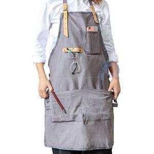Barbacoa creativo de algodón superior delantal Babero delantal de cuero correas de cocina para cocinar Mujer Hombre camarera del restaurante delantales con bolsillos
