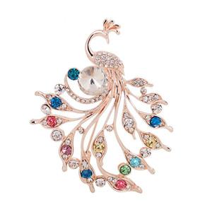 Pleine Cristal Strass Cristal Paon Broches De Mariage De Mode De La Bal Épingles De Costume De La Fête De La Broche Bijoux De Corsage pour Hommes Femmes Cadeau