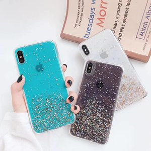 Double-layer flashing starry sky gold foil soft case for iPhone 11 6 8 7 XR X soft TPU transparent silicone mobile phone case