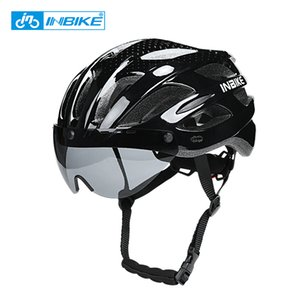 INBIKE Bicycle Helmets MTB Road Bike Helmet Mountain Road Ultralight Integrally-mold Cycling Helmet Glasses Riding Safely Cap