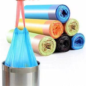 Plastic waste bags Disposal Trash Bags Household Cleaning Tools Drawstring garbage bag Home Kitchen Plastic solid thicken Portable Home 0039