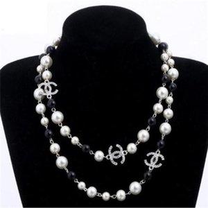 las perlas naturales collar de perlas blancas para las mujeres cadena larga del suéter B021 Colar joyería