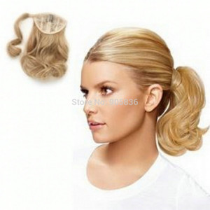 Miele biondi ricci mossi coda di cavallo parrucchino avvolge donne ponytail clip di estensione dei capelli di colore 27