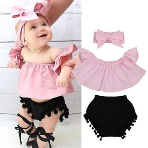 Infant Baby Girl Clothes Set Off Shoulder Top T-Shirt Shorts Cotton Headbands 3PCS Clothing Baby Girls Outfits
