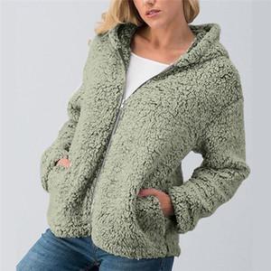 Дизайнерские женские пальто из искусственного меха Solid Donna Молния Карман меха кардиган женский с капюшоном случайные топы
