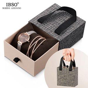 IBSO cristal pulseira relógios Set Feminino de alta qualidade quartzo relógio de luxo Women Watch presente CJ191116 Bangle Set Para Namorados