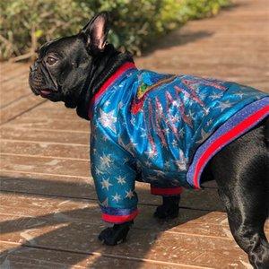 Мода Одежда для собак пришиваний Вышитой осени и зима теплой Марки собаки ватник собак куртка Одежда