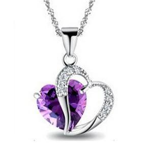 Alta Qualidade 9 cores Classe Moda, Mulheres, Meninas Lady Coração de Cristal pendentif Declaração Amethyste Maxi colar de jóias