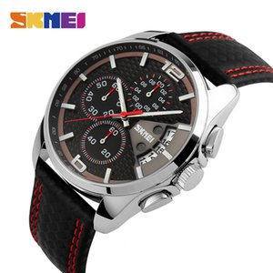 SKMEI New Fashion Men Watches Analog Quartz Wristwatches 30M Waterproof Chronograph Date Leather Band Relogio Masculino 9106