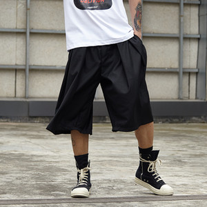 Moda masculina de gran tamaño Kimono de pierna ancha Pantalones Harem Hombres Streetwear Hip Hop Punk Gótico suelto Casual Falda Pantalón