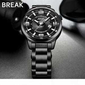 BREAK Men Japanese Quartz Watches Man Fashion Casual Auto Date Watch Male Full Stainless Steel Luminous Hands Wristwatches 5109