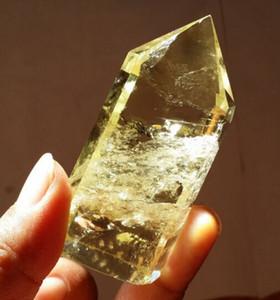 Livraison gratuite en gros 1 pcs 70g de haute qualité 100% Naturel Citrine quartz cristal Obélisque Quartz Baguette Point Spécimen Minéral reiki Guérison