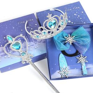 Клипы Snow Queen Шпилька Barrettes Кристалл волос луки девушки Princess Crown Волшебные Палочки наборы Дети Радуги Шпильки Аксессуары для волос GGA3055