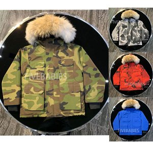 chaqueta de los niños chaqueta de invierno diseñador de moda de alta calidad al aire libre a prueba de viento chaqueta térmica reales de piel niños lobo impermeables abajo cubren
