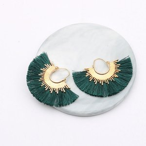 Earrings Ornaments Alloy Cotton Thread Spike Tassels Sector Polychromatic Female Ear Nail66