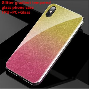 Pour Huawei cas téléphone en verre trempé gradient Glitter cas de l'iPhone pour iphone11 Samsung Note9 S10, plus Huawei Mate30 P20 couvercle arrière