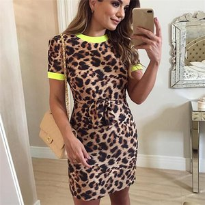 Collo Sexy Pacchetto Hip Gonna Lady Style Abiti Donna Estate Leopard Print Dress Manica Corta Roun