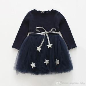 Bebé niñas de manga larga vestido lindo estrella de punto de hechizo de gauze vestido 2019 nuevo primavera otoño moda niños vestido 3 colores