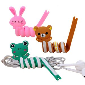 Cute Cartoon Cable Winder Frog Pink Rabbit Cat Bears Cable Tie Cord Organizer Headset Protector Telephone Data Line Charging