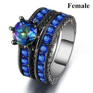 Lovers Ring - Ring en acier inoxydable de 316L Hommes Femmes 14kt or noir rempli saphir bleu Cz nuptiale de fiançailles de mariage Bague