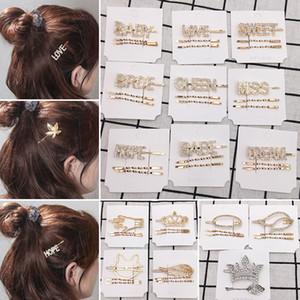 Moda Kristal Firkete Parlak Rhinestones QUEEN AŞK Mektupları Saç Klipler Kadınlar Kız Bırak nakliye için Saç Aksesuarları set