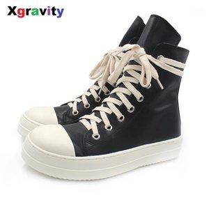 Xgravity Orta Buzağı Lady Casual Siyah Düz Sneaker Zarif Kadın Yuvarlak Burun Moda Çizme Avrupa Amerikalı Kadın Sonbahar Ayakkabı C2511