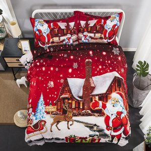 49 Christmas Santa Claus Print Bedding Set 3Pcs Duvet Cover Pillowcase Twin Full Comforter Bed Gift For Kid