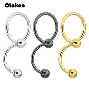 Otakoo 14G Büküm Spiral Kulak Piercing Endüstriyel Halter Çelik Belly Button Yüzük Göbek Piercing Takı Nombril Ombligo Küpe
