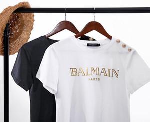 Hot moda feminina fivela De Ouro carta de impressão de ouro de manga curta de algodão gola redondaT-shirts sport camisas tees roupas de verão topos