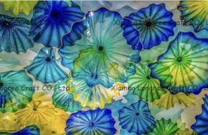 Nordic Hand Made Soffiato Piastre fiore di vetro per la decorazione multicolore in vetro di Murano Piastre Hanging Wall Art