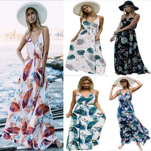 Neue Kleid-Frauen-Kleidung Designer-Spaghetti-Bügel-Blumen lang Maxi Boho V-Ausschnitt-Kleid-Sommer-Strand-19SS
