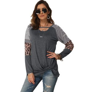 Womens Designer T-shirts Mode Leopard rayé lambrissé manches longues T-shirts Womens desserrées Casual Tops
