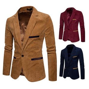 Blazer Männer Corduroy Mantel V-Ausschnitt Langarm Herren Blazer Mode Single Button Solid Color Herren Anzüge dünne Jacken Männerkleidung EURO Größe