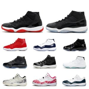 Jumpman Snake Skin Bred 2019 11 11s basketball shoes Cap and Gown Space Jam Heiress Black Platinum Tint men women sneakers US5.5-13