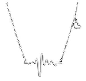 Joyería para mujer Collares latido del corazón del cardiograma Collar del amor de las mujeres / de las señoras de oro / plata del tono
