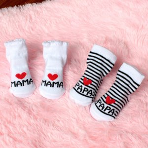 Baby Infant Boy Girl Calcetines de piso antideslizantes Love Mama Papa Letter Socks