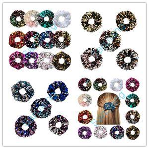 Девушки Scrunchies Упругие Hairbands двойной цвет волос хвостик кольцо Rope Блестки резинка для волос держатель Женская Золочение волос Wrap аппликация DHL D3905