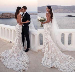 Румяна Русалка Свадебные платья 2019 Sexy Глубокий V шеи полный шнурок Backless Пляж Свадебные платья Vestidos De Noiva