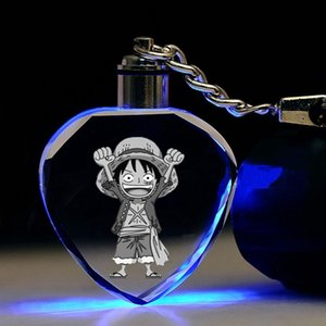 IVYYE One Piece Rufy a forma di cuore catene Anime chiave ha condotto il giocattolo di cristallo di figura portachiavi Keychain Light Portachiavi Unisex regalo NUOVO