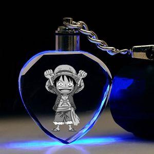 IVYYE One Piece Луффи в форме сердца Аниме LED Брелоки Рисунок брелоков Кристалл игрушка брелок свет Keyholder унисекс Подарки NEW