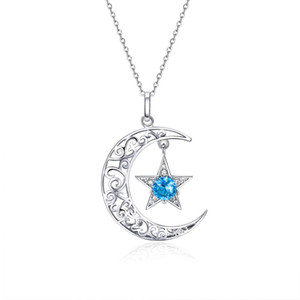 SCN278 Delicate Platinum plated casual moon pendant 925 silver chain women cz stone necklace jewelry lady