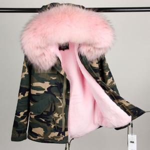 Bayanlar Kamuflaj kısa Ceket kürkler astar mini parkas soğuk kış maomaokong satış için Gerçek rakun kürk yaka ile kapşonlu