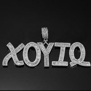 Ciondolo lettere hip-hop personalizzate lettera ciondolo collana pendente nome ciondolo 24 pollici tennis collane gioielli zirconia