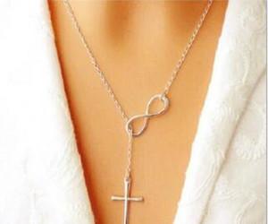 NOUVEAU Mode Infinity Croix Pendentif Colliers Événement De Fête De Mariage 925 Argent Plaqué Chaîne Élégant Bijoux Pour Femmes Dames livraison gratuite