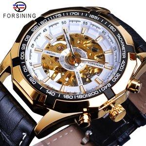 Relógios Top Marca de Luxo Homens Forsining Mão dourada vento Relógio Mecânico masculino de couro à prova d'água Banda Relógio Relógio Masculino