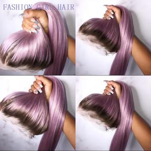 Perucas de renda longa roxa Ombre para mulheres americanas de renda sintética perucas de fibra de alta temperatura