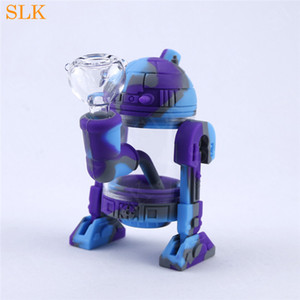 2019 El más nuevo robot bong silicona tubo de mano R2D2 diseño irrompible acrílico burbujeador agua bong high times silicona dab rig olla fumar